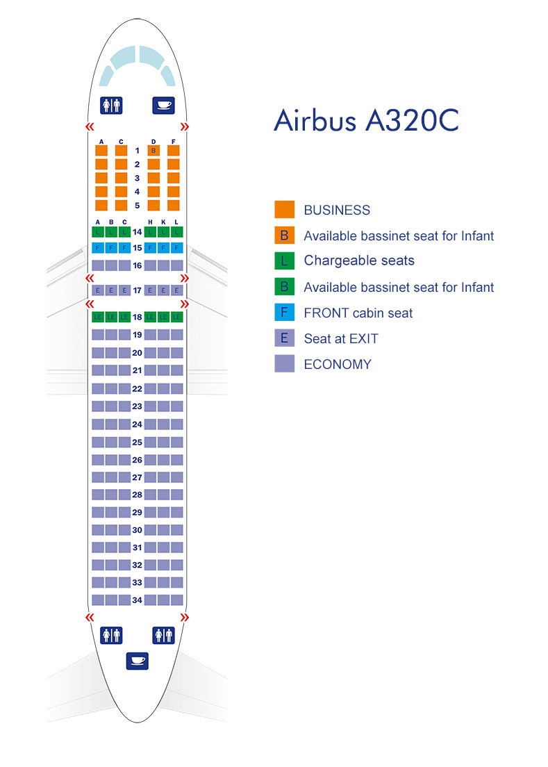 Airbus A320 Seat Map Airbus A320   Azerbaijan Airlines